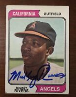 MICKEY RIVERS 1974 TOPPS AUTOGRAPHED SIGNED AUTO BASEBALL CARD 76 ANGELS