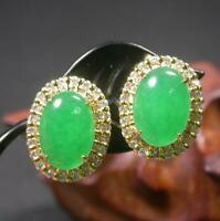 Yellow Gold Plate Green JADE Earring Earrings Cabochon Diamond Imitation 100453