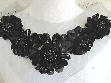 """11"""" Bead Ribbon Flower ROSETTE Neckline Applique - BLACK"""