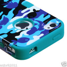 iPhone 4 4S Hybrid T Armor Snap-On Hard Case Skin Cover Aqua Camo
