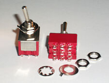 3PDT Mini Toggle Switch. On/On. Ideal For Guitars, Pedals, Electronic Projects