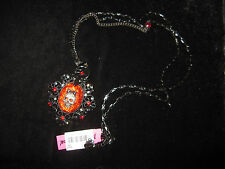 BETSEY JOHNSON DARK FOREST LONG RED CAMEO SKULL  NECKLACE