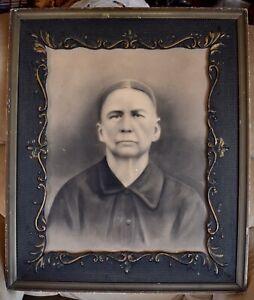 Antique Victorian 1880-90s BLACK GOLD Picture Frame w/ Instant Ancestor~16 x 20