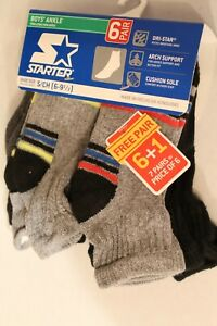 Starter Boys Ankle Socks, 7 pack shoe size S (6-9 1/2). Dri-Star Arch Support