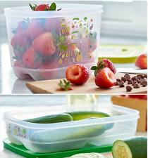 Two x Tupperware Fridgesmart Vegetable Crispers 1-3/4 Qt Each with Seals New