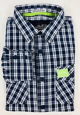 SUPERDRY The Washbasket Shirt Mens Blue Checked Long Sleeved Shirt Size L Large