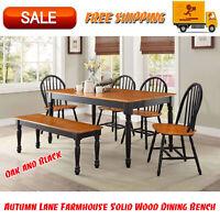 Autumn Lane Farmhouse Solid Wood Dining Bench, Black & Natural Finish, Furniture