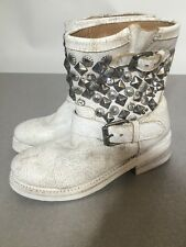 Distressed White Leather Metal Studded Size 35 5M Ash Rugged Ankle Hi Boots $398