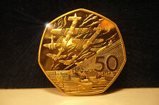 24k GOLD1994 D DAY NORMANDY LANDING BATTLE OF BRITAIN 50P COIN UNC CONDITION NEW