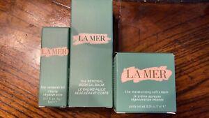 New in Box LA MER Skincare Set, Moisturizing Soft Cream/ Renewal Oil/ Body Oil