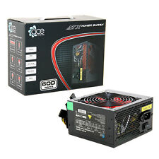 ACE 600W Black ATX Gaming PC PSU Power Supply 120mm Red
