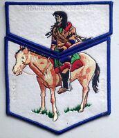 NISCHA ACHOWALOGEN OA LODGE 486 SCOUT SERVICE FLAP 2-PATCH 2004 NOAC DELEGATE !
