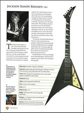 Jackson Signature Randy Rhoads 1981 guitar 9 x 7 article with specs
