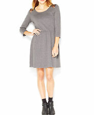 "MAISON JULES XS ""NORMANDY"" HEATHER GRAY ELASTIC WAIST TEXTURED DRESS black lace"