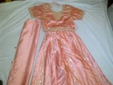 BRAND NEW - Peach  Party / Wedding/ Lengha Choli  Suit  on silk – 3 piece Suit