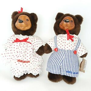 Vintage 1993 Robert Raikes April & Johnnie Plush Bears Wooden Face Jointed