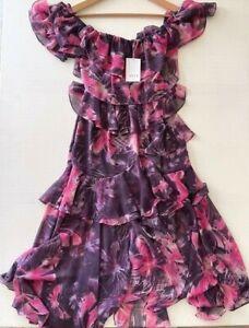 Anthropologie MISA Los Angeles Tiered Floral Midi Ruffle Dress Purple sz S NWT