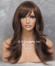 Human Hair Blend Long Layered Brown mix Straight with flare wig wla 4-30