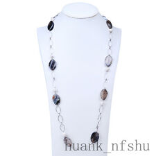 Agate stone grey color Necklace with cultured freshwater pearl Long Necklace