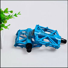 "Blue Metal Very Grippy MTB BMX Bike Bicycle Cycling Flat Platform Pedals 9/16"""