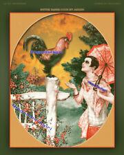ROOSTER IN GARDEN 8x10 La Vie Parisienne Herouard farm animal chicken Art print