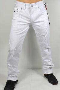True Religion $209 Men's Ricky Optic White Relaxed Straight Jeans - MDA859N25D