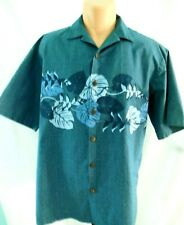 4ab6d485 Hilo Hattie Original Made in Hawaii Blue Aloha Shirt Large with Tropical  Border