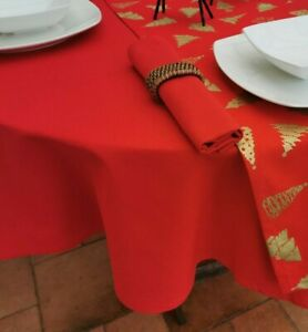 """55x78"""" (140x200cm) CHRISTMAS RED OVAL TABLECLOTH - 6 SEATER"""
