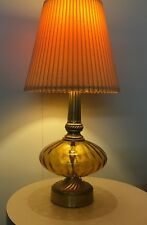 Vintage Retro Mid Century Modern Amber Glass And Brass Crusaders 1970 Lamp