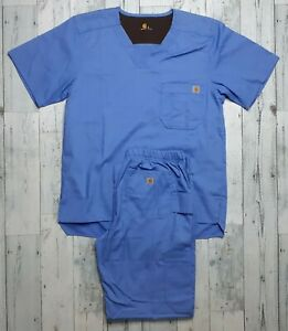 Carhartt Men's Small Ripstop Multi-Cargo Scrub Pants/Shirt Complete Outfit NICE