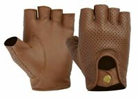 LEATHER FINGERLESS DRIVING CYCLING SUPER SOFT LAMBSKIN GLOVES