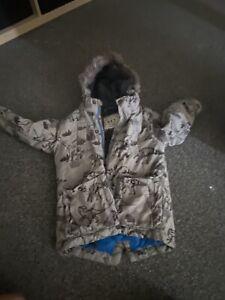 Boys Age 2-3 Next Dinosaur Print Fur Lined Coat