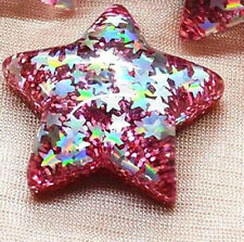 PINK Sparkly Glitter Star Divertente Kitsch Pin Badge 35 mm