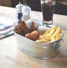 Galvanised Steel Serving Bucket Chip Wedge Chicken Sharing Bucket 15 x 23 x 7cm