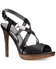 NEW COACH Wendell Leather Platform Heels Black Strappy Sandals 6 US MSRP $178+