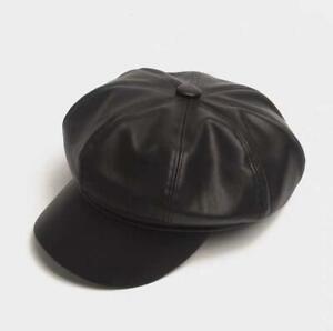 Fashion Ladies Women Girls Leather Baker Boy Peaked Cap Newsboy Hat