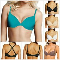Wonderbra Bra Push-Up+ T-Shirt Gradual Padding W9443 Black White Skin 32A-38C