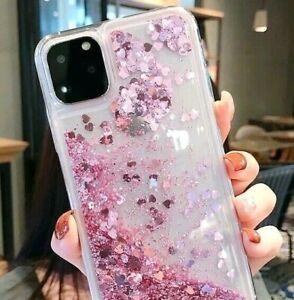 iPhone 11 / 11 Pro Max - Floating Liquid Waterfall TPU Case Pink Glitter Hearts
