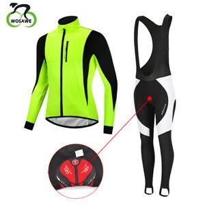 Winter Cycling Jersey Long Sleeve Fleece Thermal Men Bike Top+Cycling Bib tights
