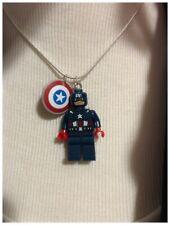 handmade miniature Building Blocks Super Hero Necklace Captain America