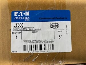 """NEW IN BOX - Eaton Crouse Hinds LT500 Straight 5"""" Male Connector Liquidtight"""
