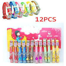 12PCS Pet Cat Collar Fot Cat Kitten Safety Collar With Bell Necklace Mixed Color