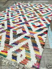 ❤️Baku Coarse Cotton White Multi Colour Rug 75cm x 135cm Fair Trade Flat Weave