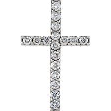 Petite Cruz Diamante 45.7cm Collar en platino( 1 CT. TW