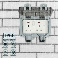 Outdoor Waterproof Double 2 Gang Socket 13A IP66 Switched Covers Wall Rainproof