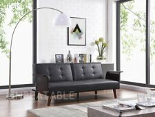 Modern Luxury Black Faux Leather 3 Seater Sofabed With Wooden Arm Rests