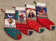 Lot of 4 Vintage Mary Engelbreit Needlepoint Christmas Stockings