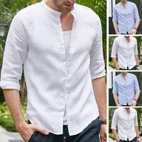 Men's Vintage Half Sleeve Shirt Collarless Button Linen Causal Top Tee Autumn UK