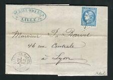 Belle lettre de Marcq en Baroeil pour Lyon ( 1871 ) avec un n° 46B