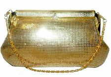 Gold Mesh Rhinestones Flap Frame Handbag Purse Clutch